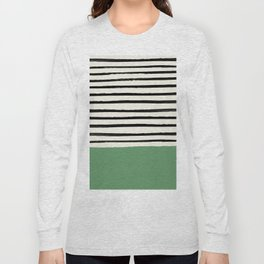 Moss Green x Stripes Long Sleeve T-shirt