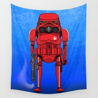 storm trooper Wall Tapestries featuring Marijuana trooper by kakin