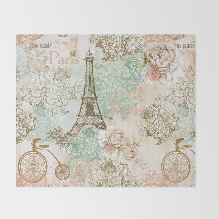 I love Paris - Vintage Shabby Chic - Eiffeltower France Flowers Floral  Throw Blanket by betterhome