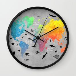 Map of the world grey text Wall Clock
