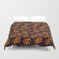 korean Duvet Covers featuring Korean Chrysanthemum - Orange by 1004kim
