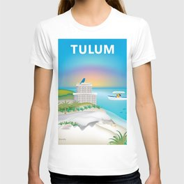 Tulum, Mexico - Skyline Illustration by Loose Petals T-shirt