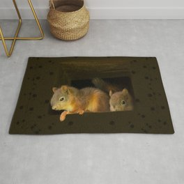 Young squirrels peering out of a nest #decor #society6 #buyart Rug