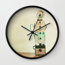 Tower of Cameras Wall Clock