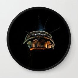 Galata Tower in the dark Wall Clock