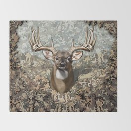 Whitetail Buck and Camo Throw Blanket