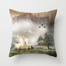 Pig with Wings Throw Pillow