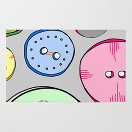 Cute as a Button Colorful Digitally Illustrated Print Rug
