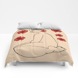 Nude 22 and red flowers Comforters