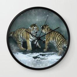 Playful Tiger Cubs Wall Clock