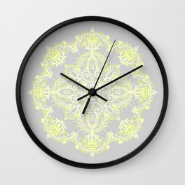 Pale Lemon Yellow Lace Mandala on Grey Wall Clock