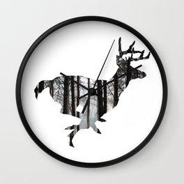 Deer forest winter silhouette Wall Clock