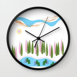 Forest Walk Along the River Rhine Wall Clock