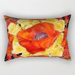 ORANGE POPPIES FLORAL & YELLOW ROSES BLACK ART Rectangular Pillow