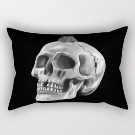 Cracked skull with mouse BW Rectangular Pillow