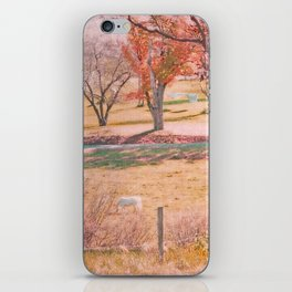 White Horse with Orange and Green Autumn Colors iPhone Skin