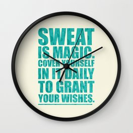 Lab No. 4 - Sweat Is Magic Cover Yourself In It Daily Gym Inspirational Quotes Poster Wall Clock