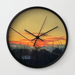 Sunrise seen from the countryside room window. Serene scene. Original artwork Wall Clock