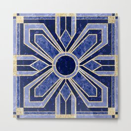 Art Deco Floral Tiles in Blue and Faux Gold Metal Print
