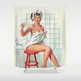 Pin Up Girl In White Bathroom Shower Curtain