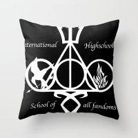 fandom Throw Pillows featuring International Highschool of All Fandom by sokteulu