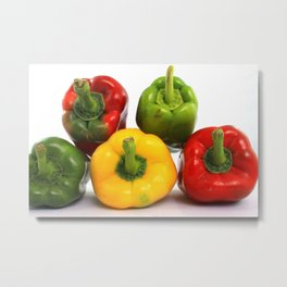 Red Yellow and Green Peppers Metal Print