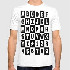Alphabet Black and White Mens Fitted Tee White SMALL