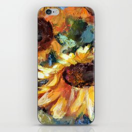 Sunflowers in a vase. Fragment. iPhone Skin
