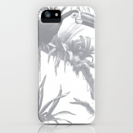 Toucans and Bromeliads - Sharkskin Grey iPhone Case