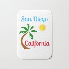 San Diego California Palm Tree and Sun Bath Mat