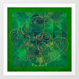 Golden Filigree Hearts on Green Abstract Art Print