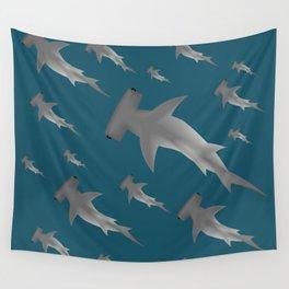 Hammerhead shark school Wall Tapestry