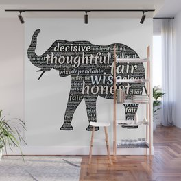 Elephant with words Wall Mural