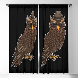 Cool Owl With A Hat | Night Active In The Clubs. Blackout Curtain