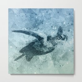 Geometric Flying Green Sea Turtle Metal Print