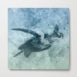 Geometric Flying Green Sea Turtle Metal Print