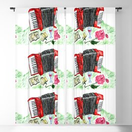Retro red accordion Blackout Curtain