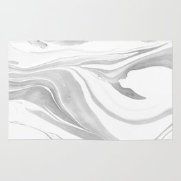 Black and White Ink Marbling 04 Rug