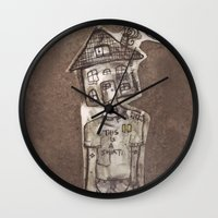 cartoons Wall Clocks featuring Saturday Morning Cartoons 1: Homebody by Kayleigh Morin