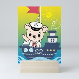 Cute Sailor Bear Mini Art Print