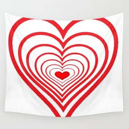 RED VALENTINES HEARTS IN HEARTS ART Wall Tapestry