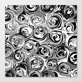 Onyx Black and White Paint Swirls Canvas Print
