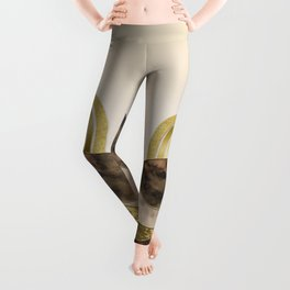 Golden Rainbow And Marble Gemstone Abstract Landscape Leggings