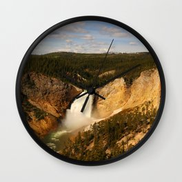 Majestic Yellowstone Upper Falls Wall Clock