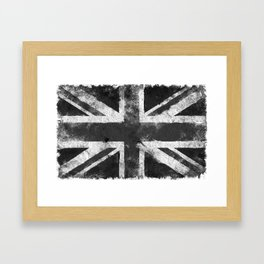 Black and white England Grunge flag Framed Art Print