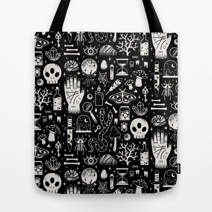 Curiosities: Bone Black Tote Bag