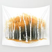 wolf Wall Tapestries featuring Autumn Wolf by Freeminds