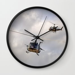 Bell UH-1 Iroquois Helicopters - (A Pair of Hueys) Wall Clock