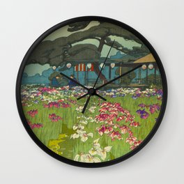Iris Garden in Horikiri Hiroshi Yoshida Modern Japanese Woodblock Print Wall Clock