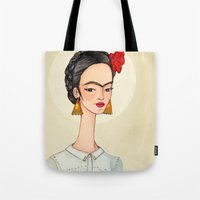 frida Tote Bags featuring Frida by Renia